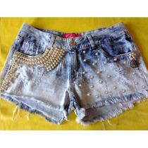 Short Jeans Com Aplicações De Pérolas Abs De Alta Qualidade.