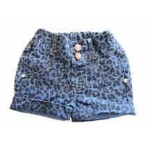 Shorts Jeans Infantil Menina - Oncinha Kidins Kd3106-1