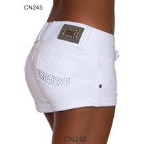 Shorts Feminino Calças Intermediárias Altas Jeans Lycra 245