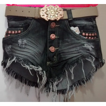 Short Jeans Hot Pants Cintura Alta Customizado +brinde Cinto