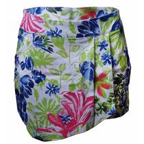 Shorts Saia De Sarja Assimétrico Com Estampa Floral