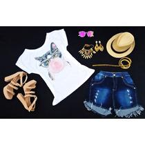 Shorts Jeans Cintura Alta + Blusa T-shirts Perolas
