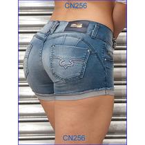 Shorts Jeans Sawary Modela Bumbum C/ Bojo Azul Delavê Cn239