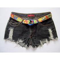 Short Jeans Feminino 42 Desfiado Distressed Exclusivo Urban
