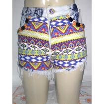 Short Customizado Com Tecido Tribal.