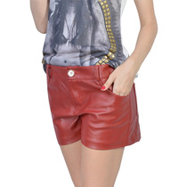 Shorts Red Leather Eco Couro Vermelho
