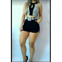 Top Cropped Blusa E Saia Curto C/ Cinto Lindo Blogueira #cj8