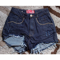 Shorts Jeans Cintura Alta Hot Pant Destroyed
