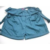 Shorts Feminino Verde Tafetá Veste De 46 A 52 Bom Estado