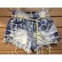 Shorts Jeans Curto Hot Pant Customizado Destroyed Manchado