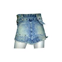 Short Saia Jeans Curto Barra Desfiada - Com Elastano Strech