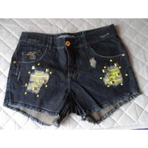 Shorts Feminino Denúncia - Tam 42 - Jeans Escuro Com Detalhe