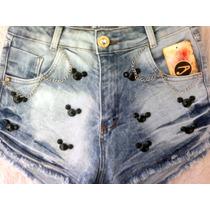 Shorts Jeans Customizados Cintura Alta Hot Paint