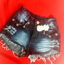 Shorts Jeans Customizados Com Correntes E Perolas, Cintos