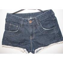 Short Feminino Jeans Escuro/médio Com Barra Em Laise Da Myth