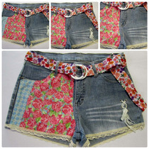 Shortinho Jeans 46/ 44 Lycra Customizado Cintura Alta