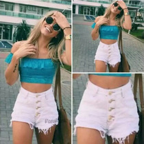 Shorts Jeans Cintura Alta Hot Pants Disco Pant Curto Panicat