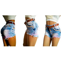 Short Jeans Feminino Cintura Alta Botão Destroyed Anitta