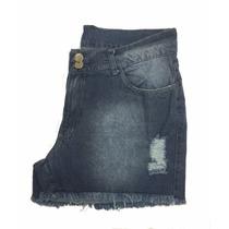 Short Feminino Jeans Barra Desfiada E Rasgado Plus 44 A 60