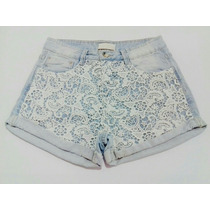 Short Jeans Renda Guipir Guipure Personalizado Hot Pants