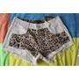 Lindo Shorts De Sarja Feminino Off White Estampa Onça