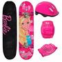 Skate Infantil Da Barbie C/ Acessorios Kit De Proteçao
