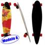 Longboard Skate Abec 9 Rolamento Shape Rodas Completo Radica