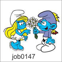 Adesivo Decorativo Smurfs Smurfeth Casal Flores Job0147
