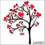Adesivo Decorativo Parede Arvore Amor Coração Love Job0981