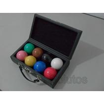 Jogo De 8 Bolas Lisas + Estojo P/ Snooker / Bilhar / Sinuca