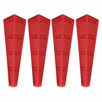 Cantoneira Larga Plástica Vermelho Para Mesas 4 Peças 11827