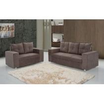 Sofa 2 E 3 Lugares Almofadas Soltas Em Sued-pronta Entrega