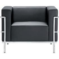 Sofá Le Corbusier 1 Lugar. Couríssimo Italiano E Aço Inox