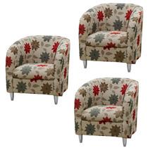 Kit 03 Poltronas Decorativa Recepção Cadeira Grande Promoção