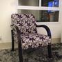 Poltrona Chenille Floral Violeta