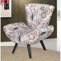 Poltrona Decorativa Umaflex Tecido Suede Floral Marrom