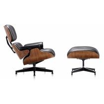 Cadeira Poltrona Charles Eames Com Puff Em Couro - Design