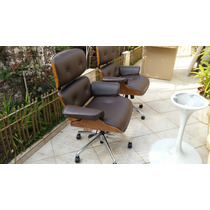 Poltrona Charles Eames Executiva - Office - Couro Natural