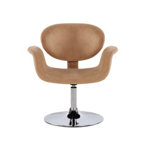 Cadeira Poltrona Camurça Giratória Tulipa Bege Decoração Lux