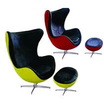 Poltrona+puff Egg Reclinável Design Cadeira Duas Cores