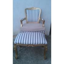 Poltrona Cadeira Luix Xv Com Almofada E Puff Decora