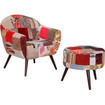 Poltrona Com Puff Sofia Patchwork Cadeira Decorativa Sala