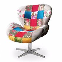Poltrona / Cadeira Decorativa Patchwork (retalho) Pé Cromado