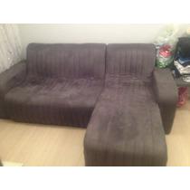 Sofá 2 Lugares + Chaise - Cinza Escuro De Camurça