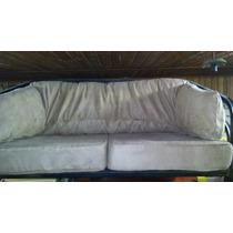Sofa Em Couro Bege De 2l Com Armacao Em Ferro