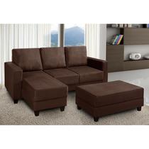 Sofá Em Suede 2 Lugares, 4 Almofadas + Chaise - Marrom