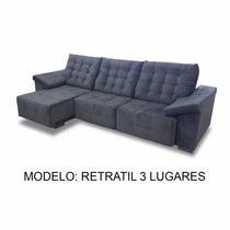 Sofa Retratil 3 Lugares 2.60m - ( Couro Ecológico)