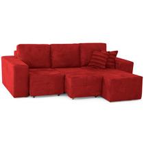 Sofá Eros 2,30m Assentos Retratíl Sala Casa Suede Vermelho
