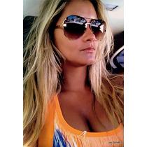 # Óculos De Sol Aviador Unisex Metal Dourado Banhado Ouro #