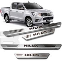 Kit Soleira Porta Aço Inox Escovado Toyota Hilux 2005 ~ 2015